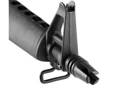 "The three-prong ""duckbill"" flash hider of the Brownells BRN-605"