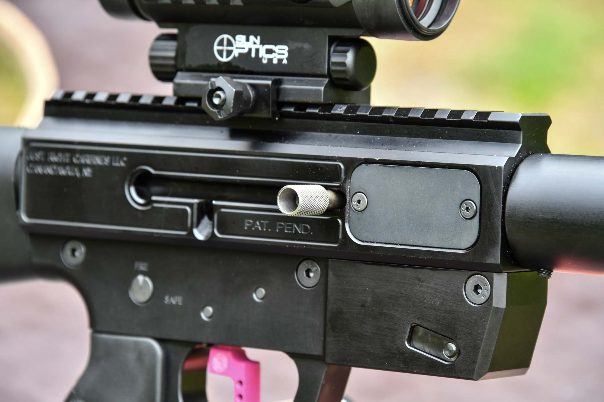 Receiver on the Gen3 Sporter pistol-caliber carbine by Just Right Carbines