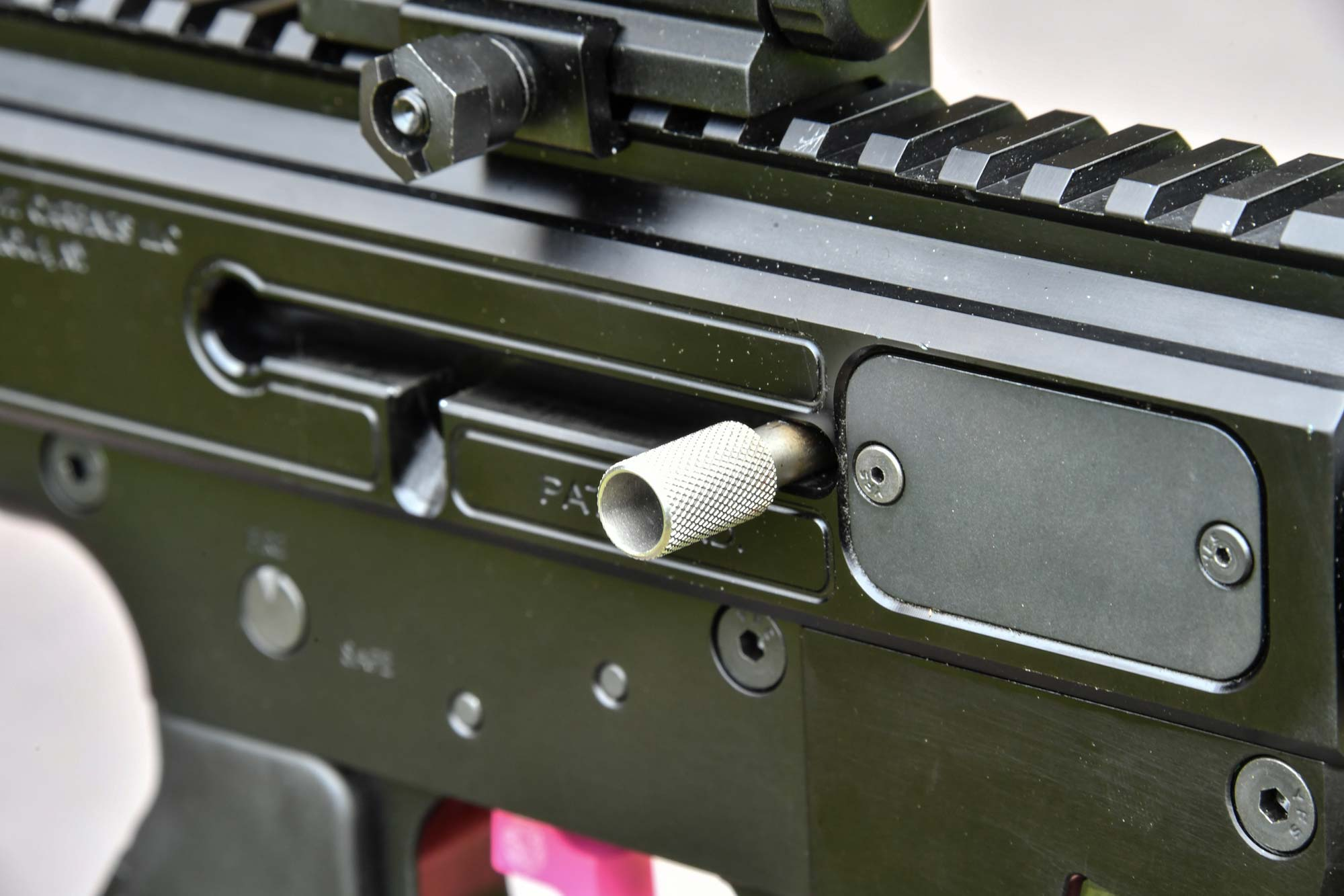Charging handle on the Gen3 Sporter pistol-caliber carbine by Just Right Carbines