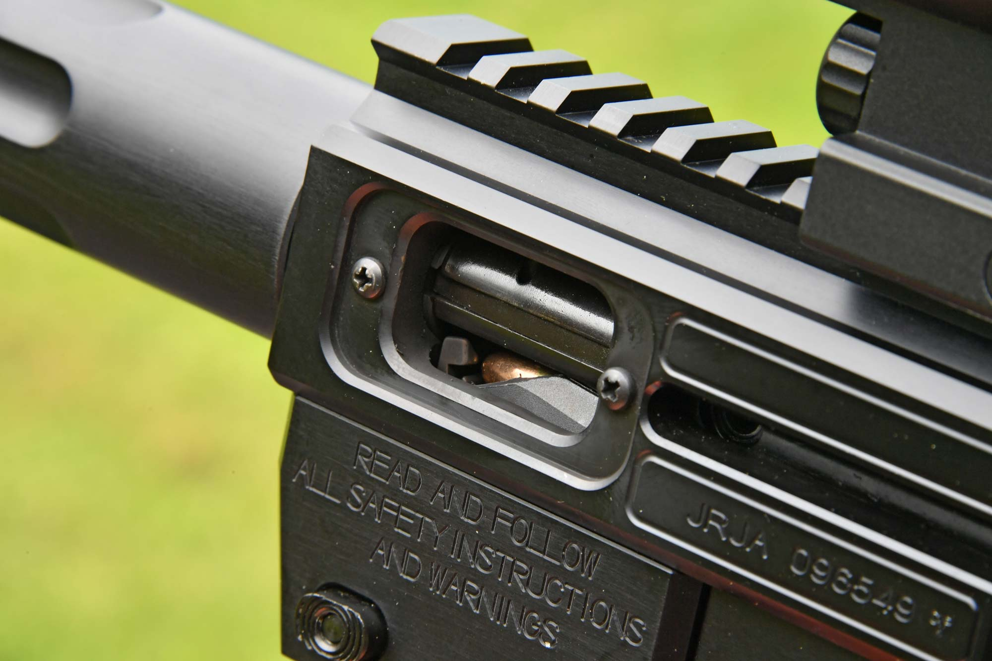 Gen3 Sporter pistol-caliber carbine by Just Right Carbines with the ejection port on the left