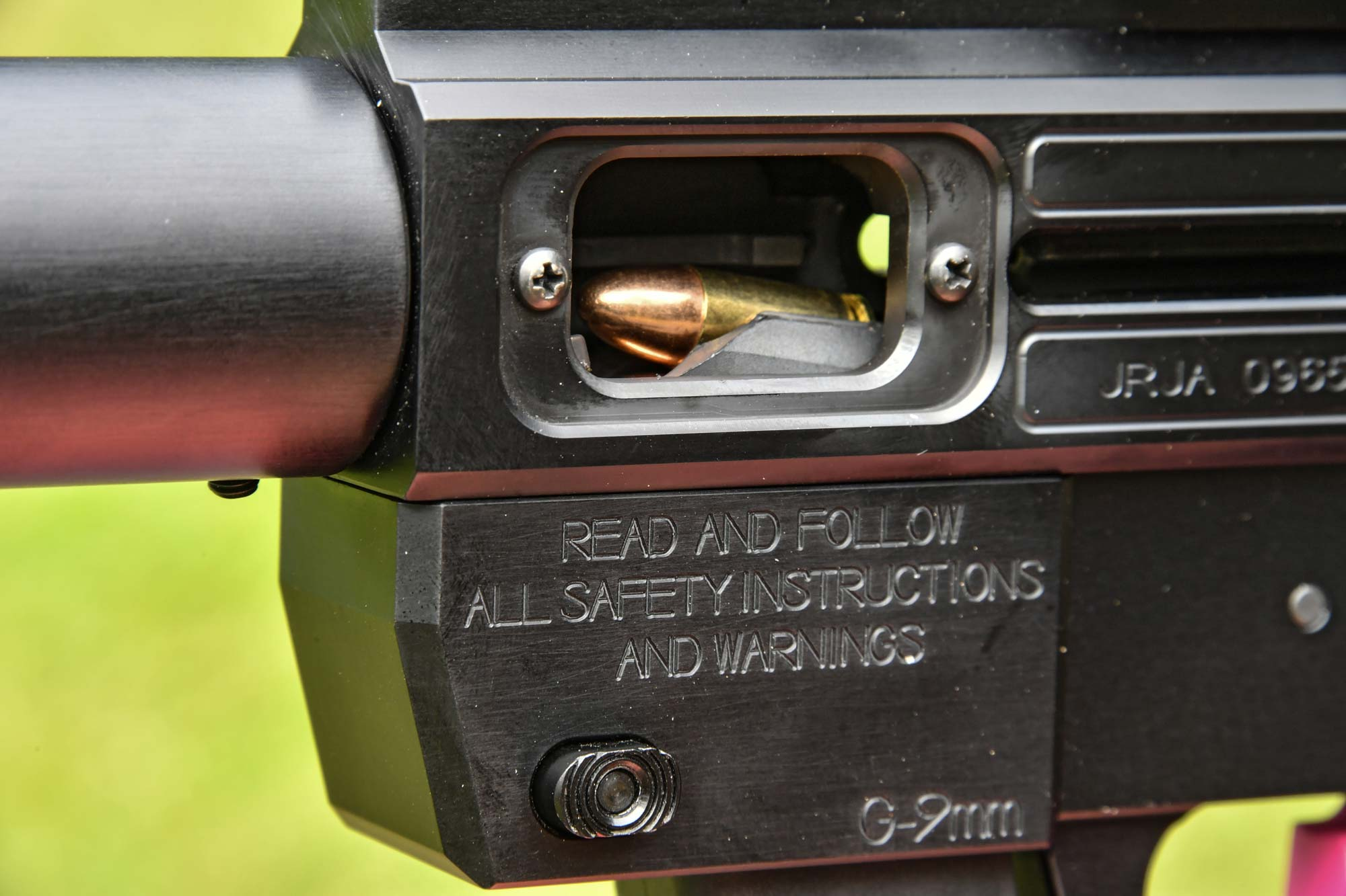 Ejection port on the Gen3 Sporter pistol-caliber carbine by Just Right Carbines