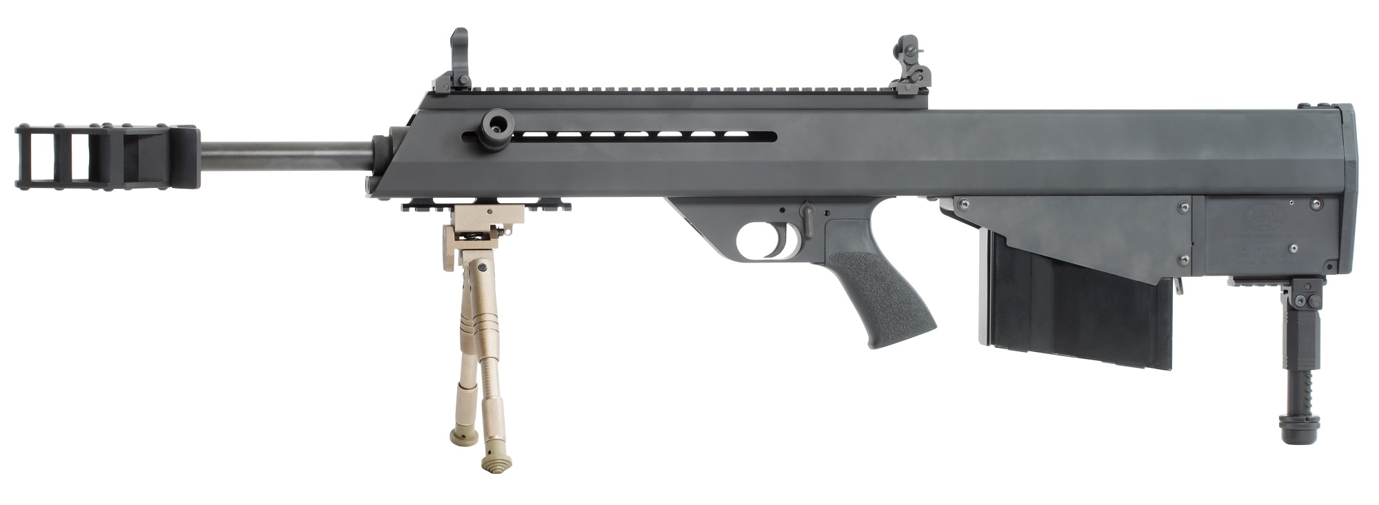 Left side of the Leader 50 A1 bull-pup semi-automatic long-range rifle