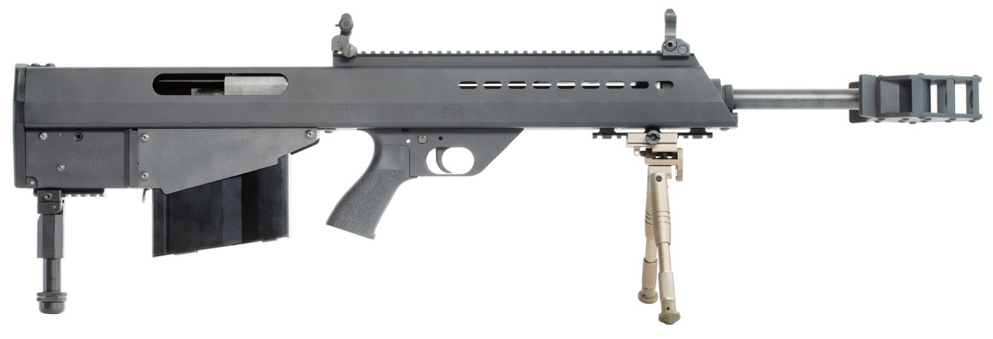 Right side of the Leader 50 A1 bull-pup semi-automatic long-range rifle