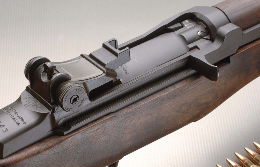 The ejection window of the Beretta BM59 battle rifle