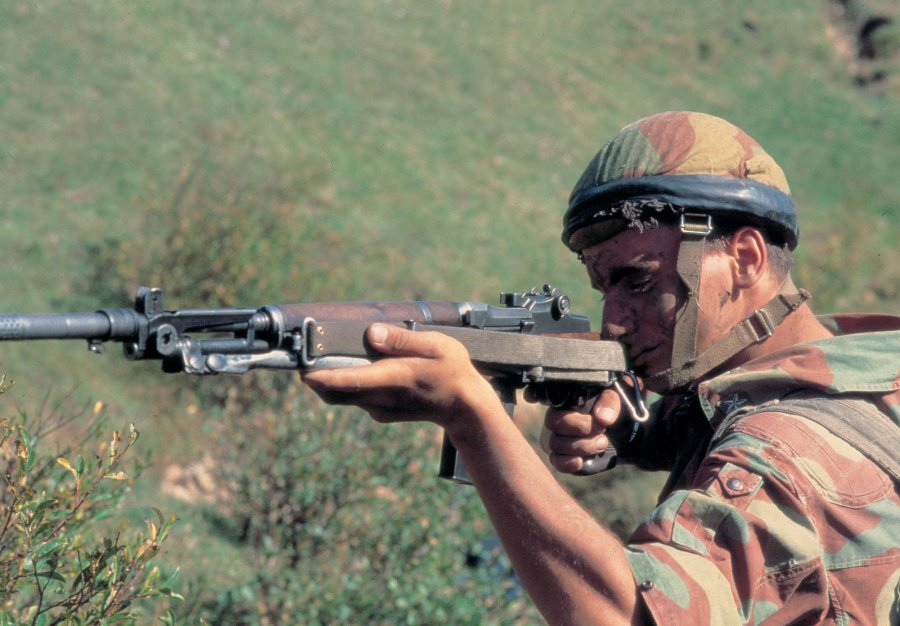 "Italian alpine trooper shooting a Beretta BM59 MkII ""Ital TA"" battle rifle"