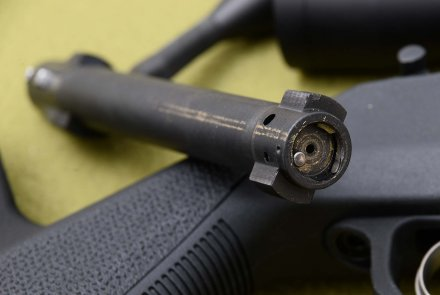 The bolt head of the Remington 700 Magpul rifle