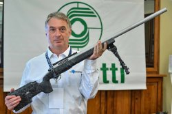 Our editor Giorgio Brancaglion with the Sabatti EVO Tactical Chrome in .308 Winchester
