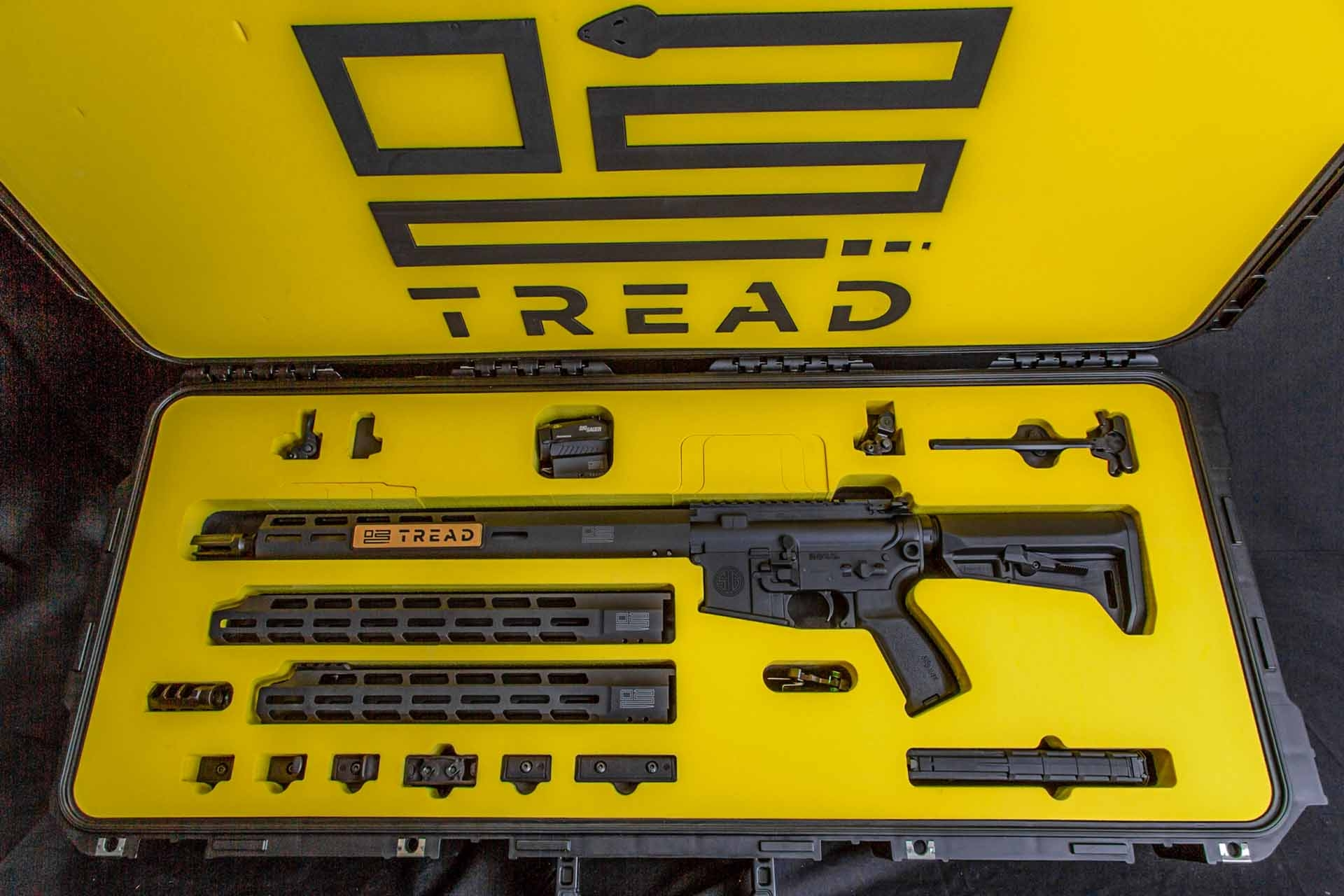 SIG Sauer TREAD rifle and accessories in its case