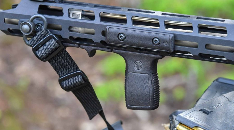 The optional vertical foregrip of the SIG Sauer M400 TREAD rifle