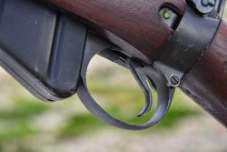 Lee-Enfield No.4 rifle: magazine release lever is inside the trigger guard