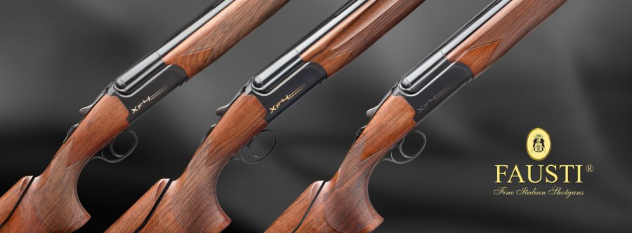 A detailed view of the three Fausti XF4 over/under competition shotguns